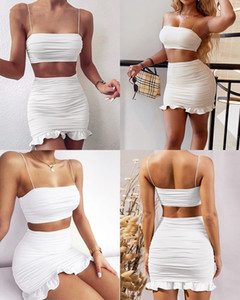 Sexy Tube top Women s clothing 2 piece set camisole high waist ruffled Wrap arm skirt casual holiday skirt suit women mini dresses plus size