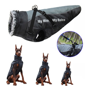 Waterproof Large Dog Clothes Winter Dog Coat With Harness Furry Collar Warm Pet Clothing Big Dog Jacket Labrador Bulldog Costume