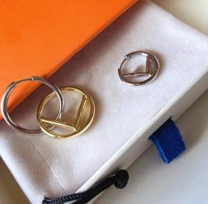 Top Quality Fashion Design Ear Studs Hip Hop Orecchini Hip Hop Orecchini in acciaio in titanio F Lettera Gold Plated Hoop per le donne Gioielli all'ingrosso