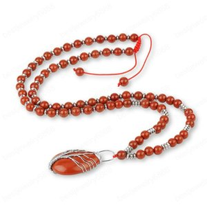 Natural Gem Stone Red Necklaces Tree of Life Wire Wrapped Pendant 7 Chakra Beaded Long Necklace for Women Men