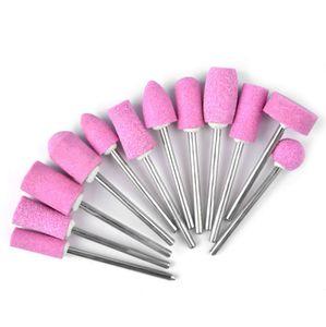 12Pcs / Set Strumenti Nail Art lucidatura testa stridente strumento di quarzo del trivello del chiodo file di bit per arte del chiodo della macchina Grinding Stone Head Rosa