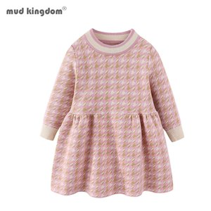 Mudkingdom Toddler Girls Houndstooth Sweater Dress Pullover Knit Baby Clothes Sweater Dress for Girl 201126