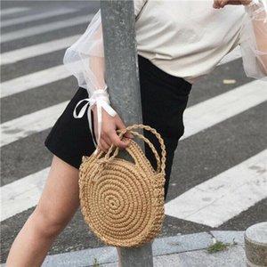 Summer Women Round Crossbody Shoulder Bag Rattan Wicker Straw Woven Beach Circular Handbags Lady Basket Tote Straw Bags