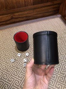 Best Quality and Best Price Foreign Trade New PU Leather Flannel Mute Dice Cup Bar Game Supplies On Sale