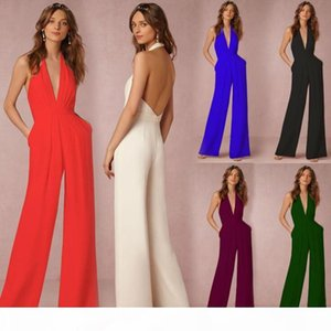 hot sale Women sexy Jumpsuits Prom Dress Wedding Gust Dresses Chiffon V Neck Sleeveless Tops And Long Pants Rompers For Women