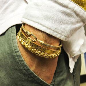 3pcs / Set Königliche Roman Armband-Armbänder Kabel-Draht-Liebe-Armbänder für Männer Edelstahl Pulseiras Männer Schmuck Accessoires 0930