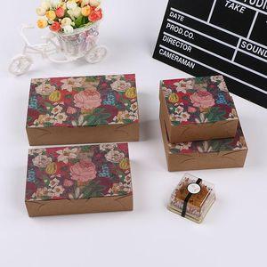 Envoltura de regalo 10 unids cuadrado kraft caja de papel flor vintage para pastelería floral envases hechos a mano festivos de cumpleaños