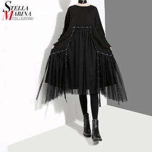 Nuevo más el tamaño de las mujeres del estilo de Corea Otoño Invierno Negro vestido suelto de manga larga capa de malla mayor de los zapatos del traje del vestido de Midi 4564 201023
