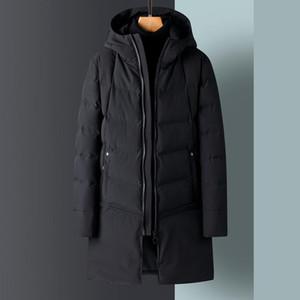 KKSKY Erkekler Kış Uzun Ceket Ve Mont Fermuar Katı Sıcak Parkas Coat Kapşonlu Kalın Siyah Erkekler Giyim Kore Tarzı 4XL Cepler