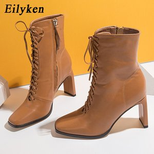 Eilyken Size 35-42 Women Square head Ankle Boots Fashion Cross Strap Square high heels Winter Shoes Zipper Office Lady Boots 201019