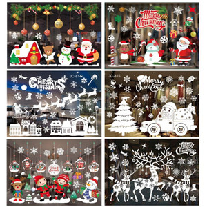 Merry Christmas Decorations for Home Santa Claus Elk Wall Window Stickers Navidad Xmas 2020 Ornaments New Year Decor 2021 Gift