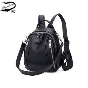 Fengdong Mujer Mini genuino antirrobo Negro pequeño de cuero bolso femenino de viaje Mochila chica backbag