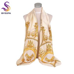 [BYSIFA] Beige Gold-Silk Schal-Schal-Frauen Aufmaß Satin Silk Foulards Wraps Herbst-Winter-muslimisches Kopftuch 135 * 135cm Y201007