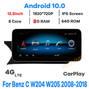 "12.3"" Android 10 8Core 8+64G Car GPS Radio Multimedia for Mercedes Benz C-Class W204 W205 GLC X253 V Class W446 2008-2018"