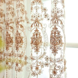 New Curtains for Living Dining Room Bedroom European-style Embroidery Flower Screen Curtains Brown Embroidered Tulle