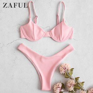 Zaful Ribbed High Leg Underwire Bikini Set Wire Free Padded Swimsuit Elastic Solid Push Up Swimwear 2020 Women Bathing Suit 1005