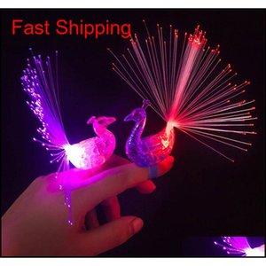 LED 글로우 공작 핑거 핑거 라이트 레이저 광선 반지 광섬유 장난감 플래시 아이 형광등 반짝이 네온 깜박이 파티 장식 zww1s