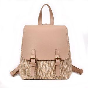 Arsmundi Fashion Straw Woven Backpack Women Back Pack Summer Teenage Girl Quality Backpacks Travel Bags Girls Mini Backpack 201013