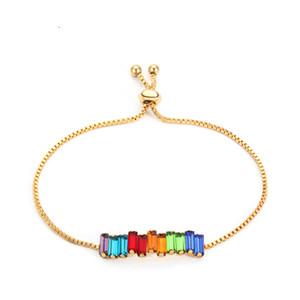 Varole 7in (tamaño ajustable) Rainbow Crystal Bracelets Brazaletes Color de oro Pulsera colorida para mujeres Regalos de joyería