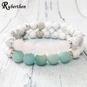 Ruberthen Fashion Design pietra naturale Bracciale Set Matte White Howlite Rosa Quart z Bracciale Trendy Women`s / `s degli uomini