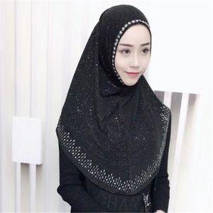 Müslüman başörtüsü giymeye hazır Hicap Anında Rhinestone Al-Amira Muslima Şal İslami Kafa Headwarp 201224