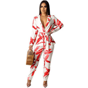 Business Two Piece Sets Office Lady Women Work Elegant Notched Collar Blazer And Pant Suits Leaf Print 2 Piece Outfits