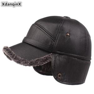 XdanqinX New Winter Men's Thick Velvet Baseball Caps Men Earmuffs Hats Warm Hat Middle-aged Fashion Faux Leather Cap Brands Cap 201019
