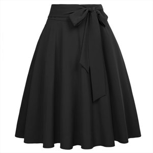 skater skirts Womens vintage classy Solid Color High Waist Self Tie Bow Knot Embellished knee big swing A Line harajuku skirt