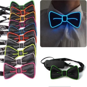Fashion Men LED EL Wire Necktie Luminous Neon Flashing Light Up Bow Tie For Club Cosplay Evening Party Decoration H9