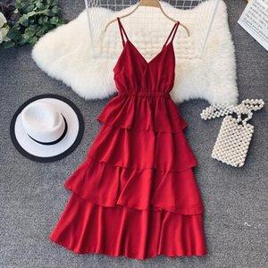 New 2020 Summer V neck Women Vestido A line Solid Lace Up Dresses Chiffon Sleeveless High Waist Elegant Long Dress 80135
