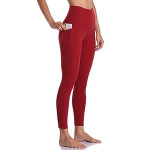Lovmove 8% Spandex de la alta cintura Legging sólido hasta los tobillos Medias Mujeres yoga pantalones con bolsillos pantalón de entrenamiento