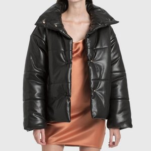Women winter INS leather cotton-padded bread clothes 2020NANU High collar Jacket short coat lady leather clothes