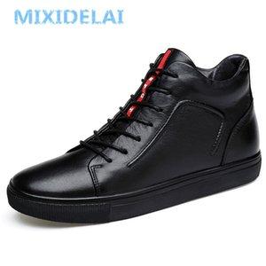 Mixidelai 100% Hakiki Deri Ayak Bileği Yüksek Üst Kar Sıcak Flats Botları Tutun Erkekler Kış Ayakkabı LJ201023