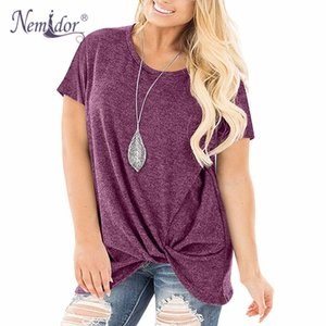 Nemidor Mulheres Manga Curta Casual Soft Side Twist Knotted T Shirts Loose Fit Plus Size Verão Tee Tops T200110