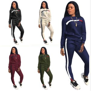 Women Tracksuit Two Pieces Set Solid Color Line Webbing Stitching Ladeis New Simple Fashion Leisure Splicing Sports Suits Sportwear 2020