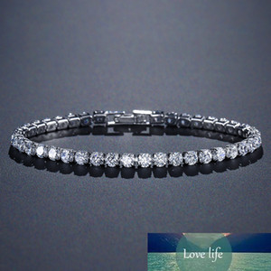 Solid 925 Sterling Silver 4mm 17cm 19CM CZ Tennis Bracelet Bangle for Women Wedding Fashion Jewelry Wholesale Party Gift S4777