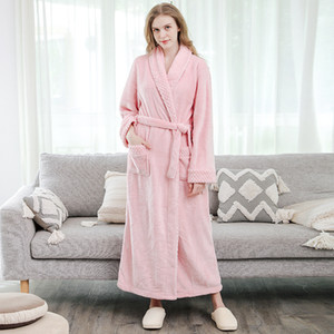 Women Men Thermal Luxury Flannel Extra Long Bath Robe Winter Sexy Grid Fur Bathrobe Warm Kimono Dressing Gown Bridesmaid Robes