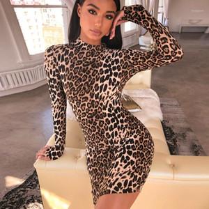 Long Sleeve High Neck Leopard Print Sexy Bodycon Mini Dress 2020 Autumn Winter Women Fashion Christmas Party Clothes1
