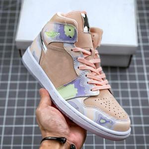 1 Medio SE WMNS P Su respectivas 1s para mujer zapatos de baloncesto lavados coral ligero silbido de las señoras de chicas entrenadores deportivos zapatillas de deporte