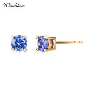 Windshow carino rotondo blu cz zircone mini piccoli orecchini per le donne ragazze bambini bambini oro colore gioielli orecchini aros1
