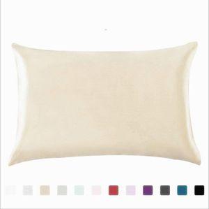Kissenbezug Silk Satin Solid-Color-Kissenbezüge 20 * 26-Zoll-Haushalts-Eiskissenbezug Reißverschluss doppelseitige Bett-Kissenbezüge OOC4357