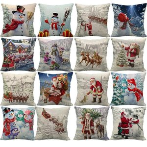 45Cm New Year Christmas Pillowcase Linen Snowman Winter 18 Cushion Sofa Lumbar Throw Cover Color Waist Pillow For Home M8E3 Pillow Case