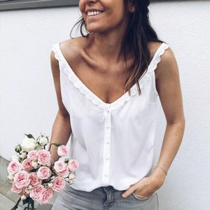 Donne Casual Summer Summer V Neck Top in pizzo Senza maniche Camicetta traspirante BASIC BASIC VESS BASE LOUNGEWEAR SOLID SOLIDE Debardeur Femme Camisetas Mujer