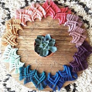 Dvacaman Bohemia Handmade Weave Macrame Brincos de Algodão Fio Feather Ferram Tassel Brincos Casamento Jóias Mulheres Acessórios