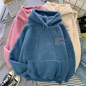 Autumn Winter Coat Sweet Hooded Sorry Print Harajuku Loose Pocket Hoodies Womens Fleece Flannel Pullover Female Sweatshirt F107