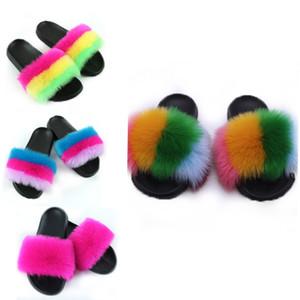 Летние женщины поддельные меховые тапочки Fox Fox Plush Faux Fox Hair Slides Wenge Furry Flip Plops Futuffy Sandals женщина вне вечеринки обувь X1020