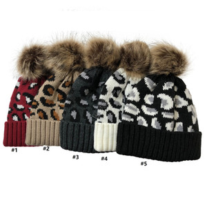Fashion Adults Warm Winter Hat Women Soft Knitted with Pom Pom Beanies Crochet Hats Womens Beanies Girls Ski Cap Leopard print D102701