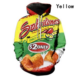 S-7XL Patates Cipsi Hoodie Artı Boyutu Yetişkin Patates Kızartması Foodie Fastfood Snacks Şeker 3D Baskı Kazak Tasarımcısı Hoodies Spor Giysileri E122109