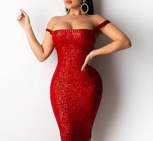 Womens Designer Pailletten Party Kleider Sommer-reizvolle dünne Sleeveless Bandge Bodycon Kleider der Frauen Art und Weise beiläufige Kleider