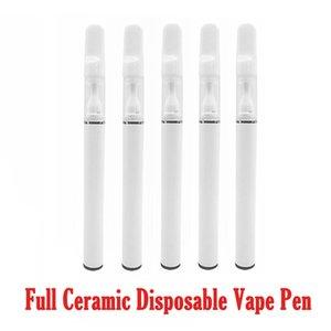 Branco completa Cerâmica descartável Vape Pen 1 ml 0,5 ml recarregável vaporizador Pen E Cig com USB fundo Porta de Carregamento